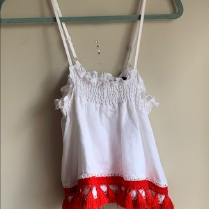 XOXO white tank top with red tassels !! size: L